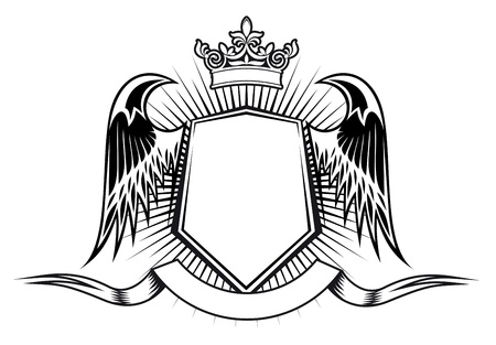 crown tattoo: Heraldry elements with wings and ribbons for design