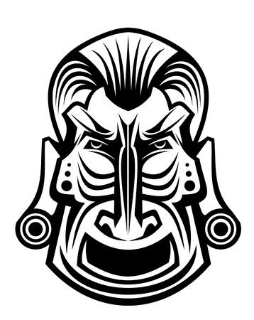 dessin tribal: Ancien masque religieux tribal isol� sur fond blanc Illustration