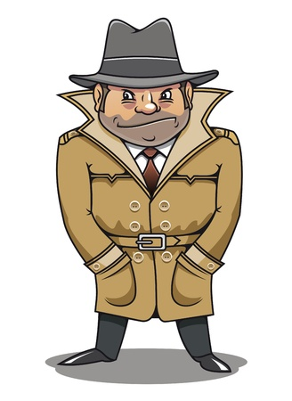 cartoon gangster: Detective agent or spy man for security or police concept design Illustration