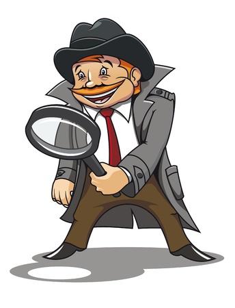 Detective met vergrootglas voor de cartoon ontwerp