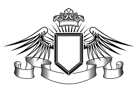 Heraldry shield with angel wings, ribbons and crown Vector