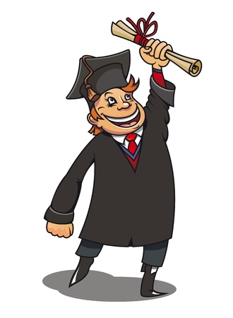Smiling student with diploma for education concept or design Vector