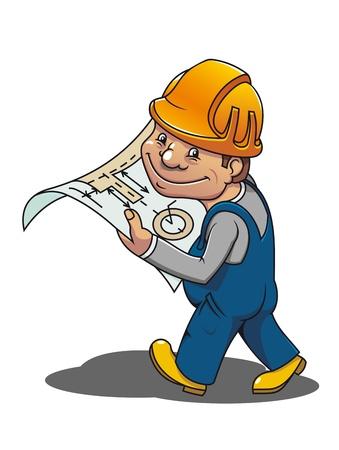 onderhoud auto: Lachende cartoon werknemer met regeling voor industrieel ontwerp Stock Illustratie