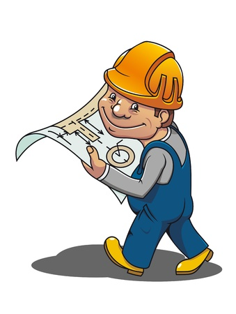 manual worker: Smiling cartoon worker with scheme for industrial design