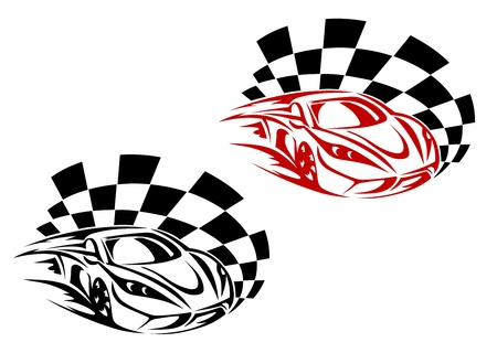 formula one: Racing cars and symbols for sports or tattoo design