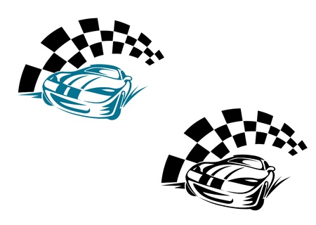 Racing cars and symbols for sports or tattoo design Vector