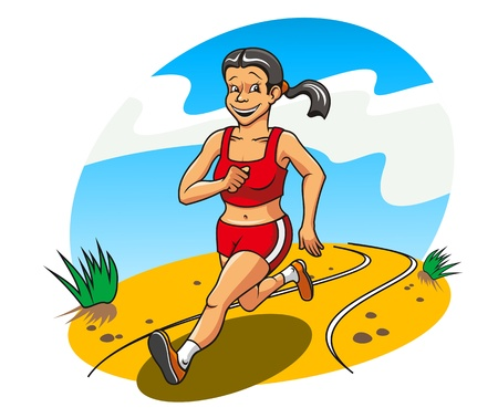 outdoor fitness: Happy and cheerful running woman for lifestyle concept