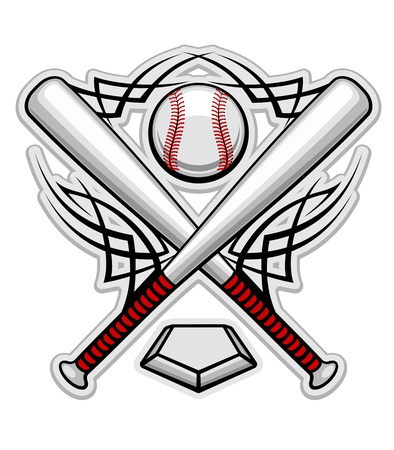 at bat: Baseball emblem for sports design or mascot Illustration