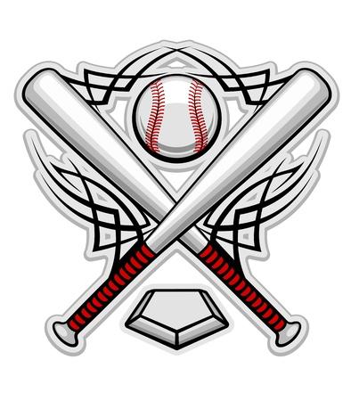 murcielago: Emblema de b�isbol para el dise�o de deportes o mascota
