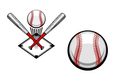 at bat: Baseball emblems set for sports design or mascot Illustration