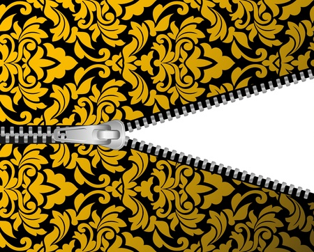unbuttoned: Seamless damask background with zipper for design Illustration