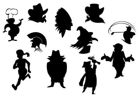 Set of cartoon silhouettes isolated on white background Vector