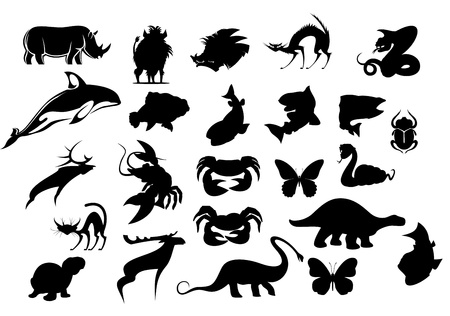Set of cartoon animal silhouettes isolated on white background Vector
