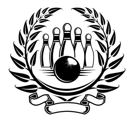kegelen: Bowling symbool in de lauwerkrans van Caesar in retro stijl