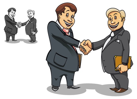 two companies: Two cartoon smiling businessmen contacting and making handshake