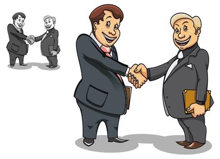 two men talking: Two cartoon smiling businessmen contacting and making handshake