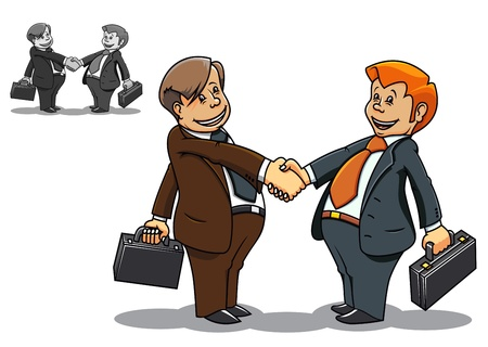 two people talking: Two cartoon smiling businessmen meeting and communicating
