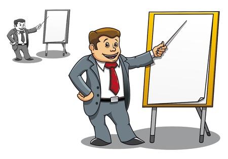 Empresario alegre haciendo una presentación cerca de la Junta en blanco
