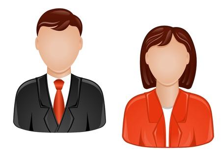 avatars: Icone di uomo e donna per il web design Vettoriali