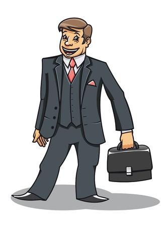 화이트 절연 서류 가방으로 쾌활한 젊은 사업가