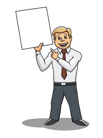 Businessman with blank placard for advertising design Vector
