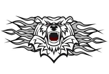agression: Arctic Bear avec des flammes pour la conception de tatouage ou mascotte