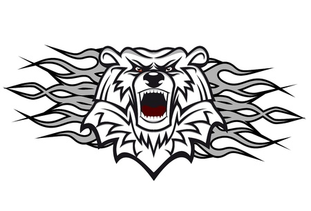 aggression: Arctic bear with flames for tattoo or mascot design