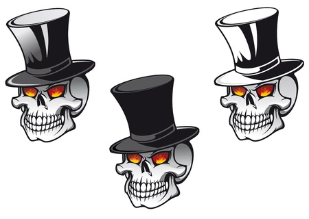 Skull in black hat for tattoo design Vector