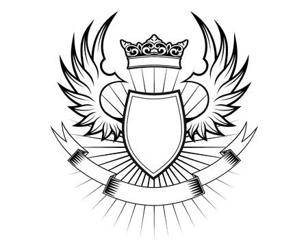 rey medieval: Elementos de her�ldica con alas y cintas para el dise�o
