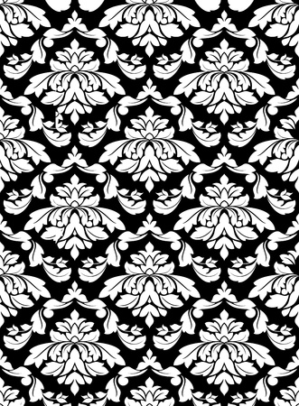 damask seamless: Damask seamless pattern for background design in white and black color Illustration