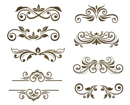 victorian: Vintage floral motifs for design isolated on white Illustration