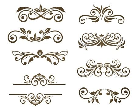 Vintage motivos florales para diseño aislados en blanco Ilustración de vector