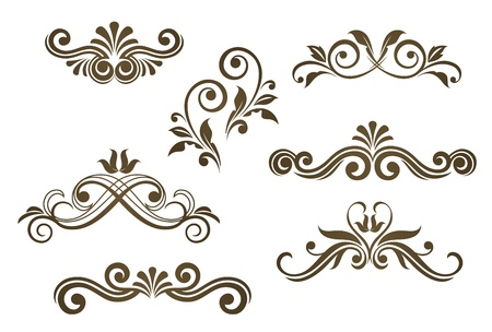 victorian scroll: Vintage floral motifs for design isolated on white Illustration