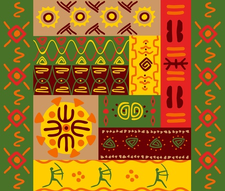 etnia: Patrones étnicos abstractos y adornos para el diseño Vectores