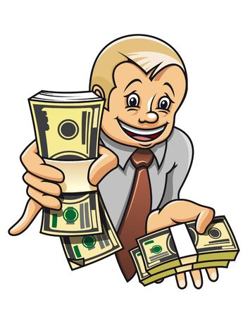 cartoon money: Cheerful businessman with money as a success concept Illustration