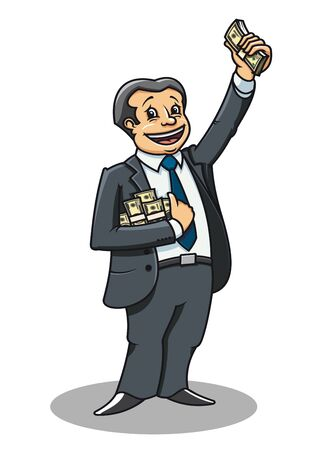 bank manager: Empresario alegre con dinero como un concepto de �xito Vectores