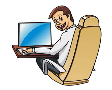 Young manager in office working on computer Stock Vector - 9929662