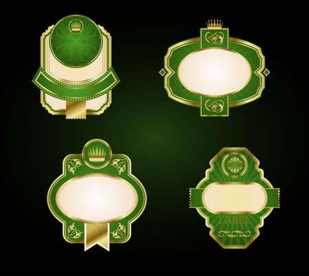 Set of golden retro labels and frames Vector