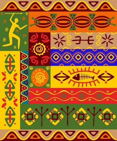 yellow african: Abstract ethnic patterns and ornaments for design Illustration