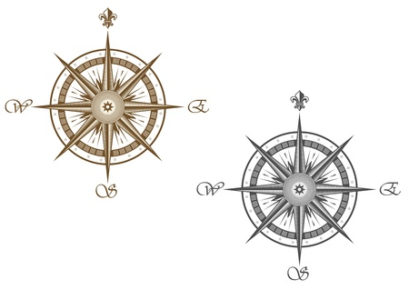 magnetic north: Medieval compass isolated on white background for travel design