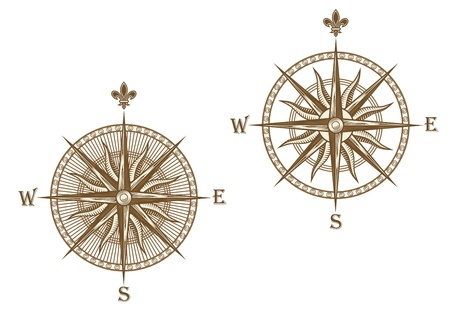 magnetic north: Ancient compass isolated on white background for travel design