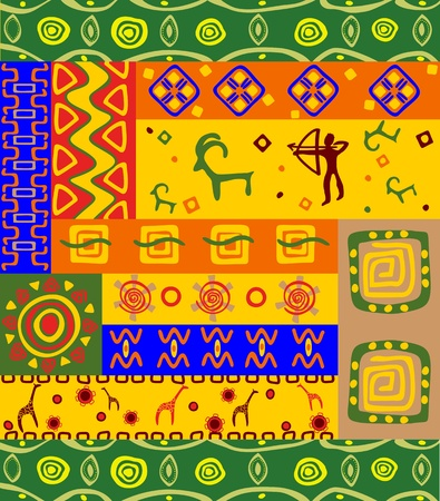 primitive art: Abstract ethnic patterns and ornaments for design Illustration