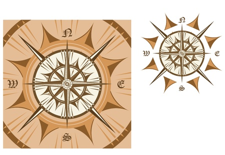 south east: Medieval compass isolated on white background for travel design