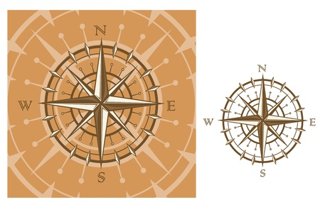 Medieval compass isolated on white background for travel design Vector