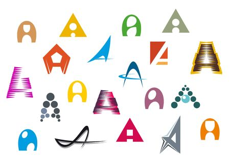 typography: Set of alphabet symbols and elements of A letter