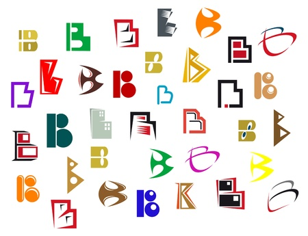 Set of alphabet symbols and elements of letter B Vector