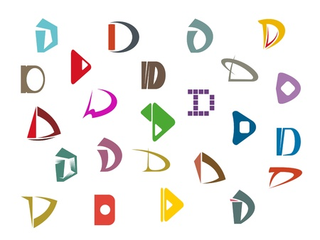 d: Set of alphabet symbols and elements of letter D