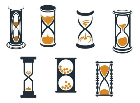reloj de arena: Reloj de arena símbolos e iconos para diseño y concepto de tiempo