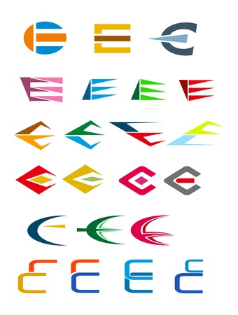 Set of alphabet symbols and elements of letter E Vector