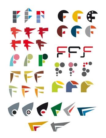 alphabetical letters: Set of alphabet symbols and elements of letter F Illustration